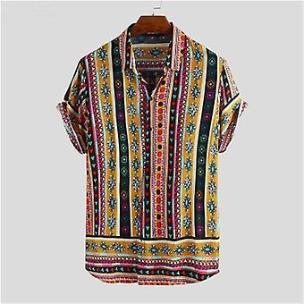 الرجال القمصان قصيرة الأكمام المطبوعة جيب الملونة عارضة بلوزة قميص