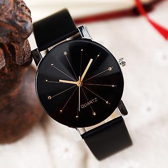 Men/women Black Watch Leather Strap Line Bracelet Casual Wrist Watches