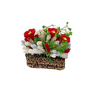 Κούκλες σπίτι κόκκινα και άσπρα λουλούδια σε γούρνα δοχείο μινιατούρα 1:12 Κήπος αξεσουάρ
