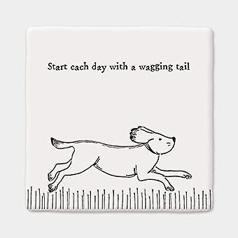 East of India Porcelain Keepsake Wagging Tail Coaster Dog Gift