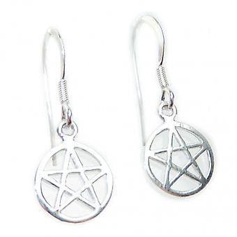 Pentagramma Piccoli orecchini in argento sterling .925 X 1 Coppia Pentagrammi