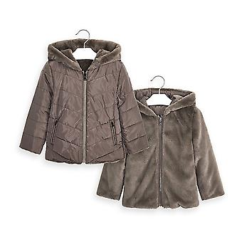Mayoral girls mink faux fur reversible coat 4418/78