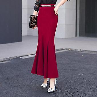 Βολάν λεπτή υψηλή μέση μακρύ πακέτο γλουτούς ουρά φούστες