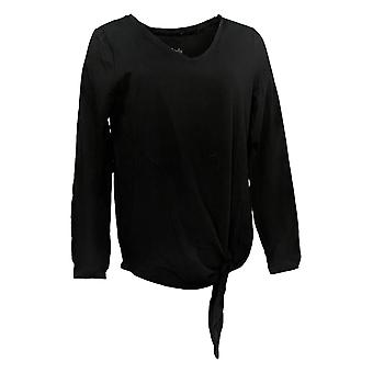 Anybody Women's Top Ribbed Neck Band Long Sleeve Side Tie Black A372098