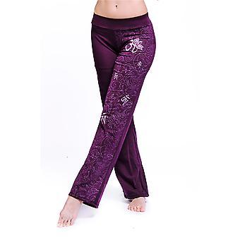 Women's Om Organic Pants - Maori Print, Purple