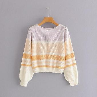 Hit Color Patchwork Knitted Sweater