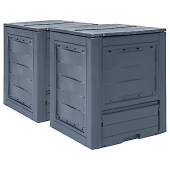 L Garden Composters 2 Pcs Grey 60x60x73cm 520 L