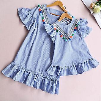 Mini robe rayée et de modèle de gland pour la mère et la fille-famille assorties