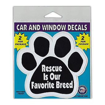 "Window Decals, 2-pack, Rescue Is Our Favorite Breed, 4.25"" X 4"""
