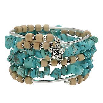 Boho Silver & Turquoise Gemstone Memory Wire Bracelet - Ekskluzywny zestaw biżuterii Beadaholique