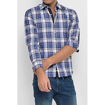 Slim fit plaid patterned navy blue shirt