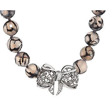 MISIS Women -Bon TON Silver Necklace 925 White Zircons Onyx 45 cm - CA07280C
