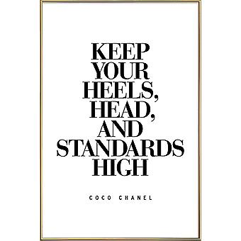 JUNIQE Print - Keep Your Heels - Quotes & Slogans Poster in Black & White