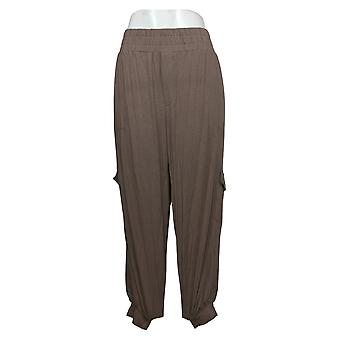 Enhver Kvinders Bukser Petite Hyggelig Strik Cargo Jogger Brown A310165