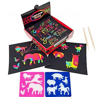 Rainbow Scratch Off Mini Art Notes,with 100 Rainbow  Paper 2 Wooden Stylus