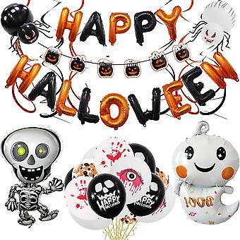 Halloween balloon decoration 34pcs pumpkin paper card skull hanging flag spiral set