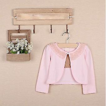 Kleinkind Mädchen lange Ärmel Spitze Blume Outerwear Cardigan Pink 130cm
