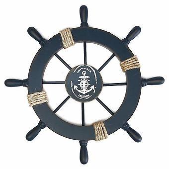 خشبية عجلة سفينة بحرية قارب عجلة الجدار ديكور الأزرق الداكن