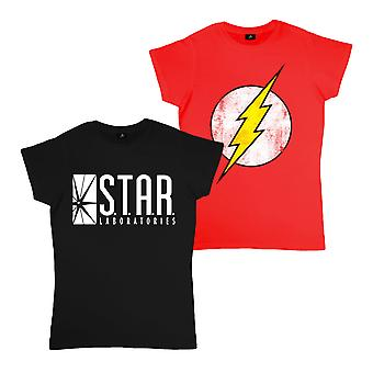 Womens DC Comics equipado t shirt twin pack the Flash and STAR Labs Official