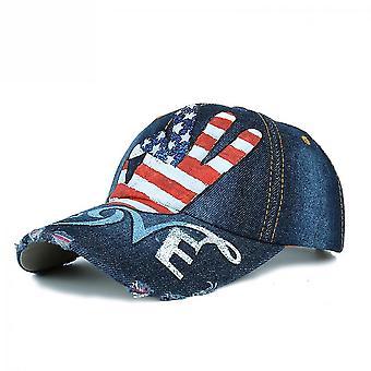 Denim baseball cap hand geschilderd usa vlag ok retro snapback hoed gorra