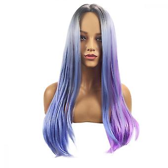 Wigs Long Straight Hair Gray Gradient Wigs For Women Looking Natural