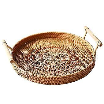 Rattan Round Basket With Handle - Bread Fruit Food Breakfast Display Hand