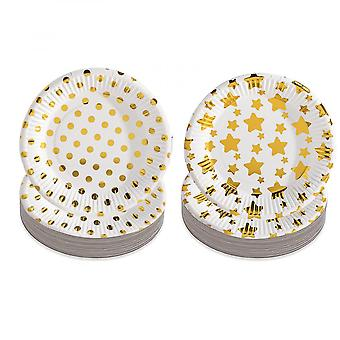 Party Paper Plates, 20pcs Round White Paper Plates, 7 Inch Fruits Snack Cake Plates Golden Stars And Dots Tableware For Picnic, Bbq, Party