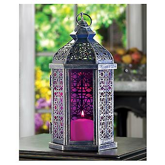 גלריית פנס נרות זכוכית סגולה בהירה - 11.5 אינץ', חבילה של 1