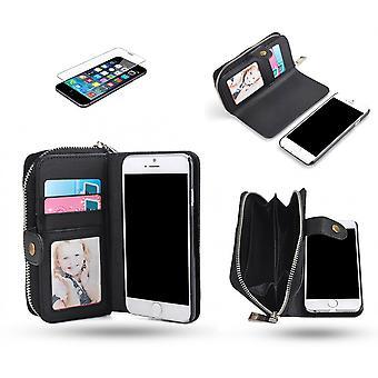 Iphone 6 / 6s - Custodia a portafoglio e guscio magnetico + protezione dello schermo