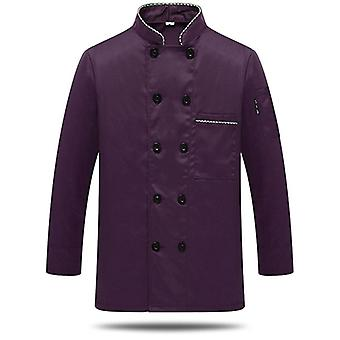 Unisex Chef Uniform Food Service Cook Jacket Coat Solid Man Kitchen Shirt