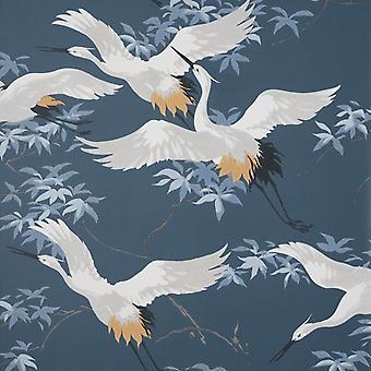 Crane Navy Wallpaper