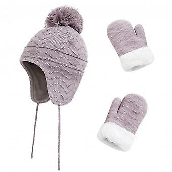 Warm Knitted Pompom Caps Gloves Beanies