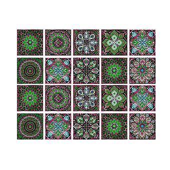 Autocollants de carreaux auto-adhésifs de fleurs 20pcs