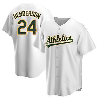 Men's Baseball Jersey Athletics 26 Chapman 24 Henderson Player Jersey 90s Hip Hop Game Fans Sports Baseball Uniforms T-shirt Green White Size S-xxxl