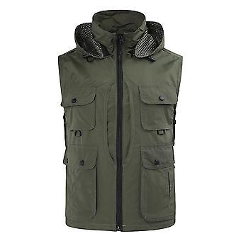 Yunyun Homme Casual Cargo Hooded Vest Outdoor Multi Pockets Gilet Gilet