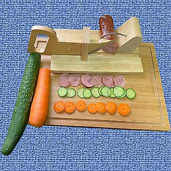 Wooden Sausage, Sausage Rack Cut With A Knife, Ham Oak Push-pull