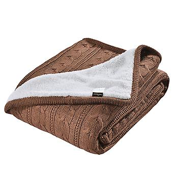 Silktaa Knitted Lamb Wool Sherpa Blanket Soft And Comfortable Knitted Blanket