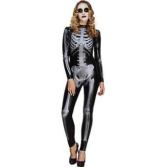 Gorączka kolekcja Miss whiplash drukowane szkielet kostium czarny Catsuit rozmiar S