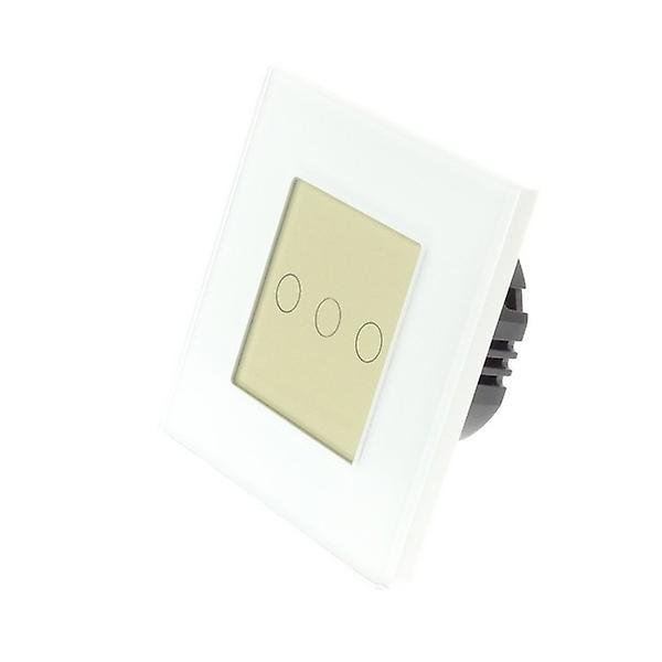 I LumoS White Glass Frame 3 Gang 1 Way Touch LED Light Switch Gold Insert