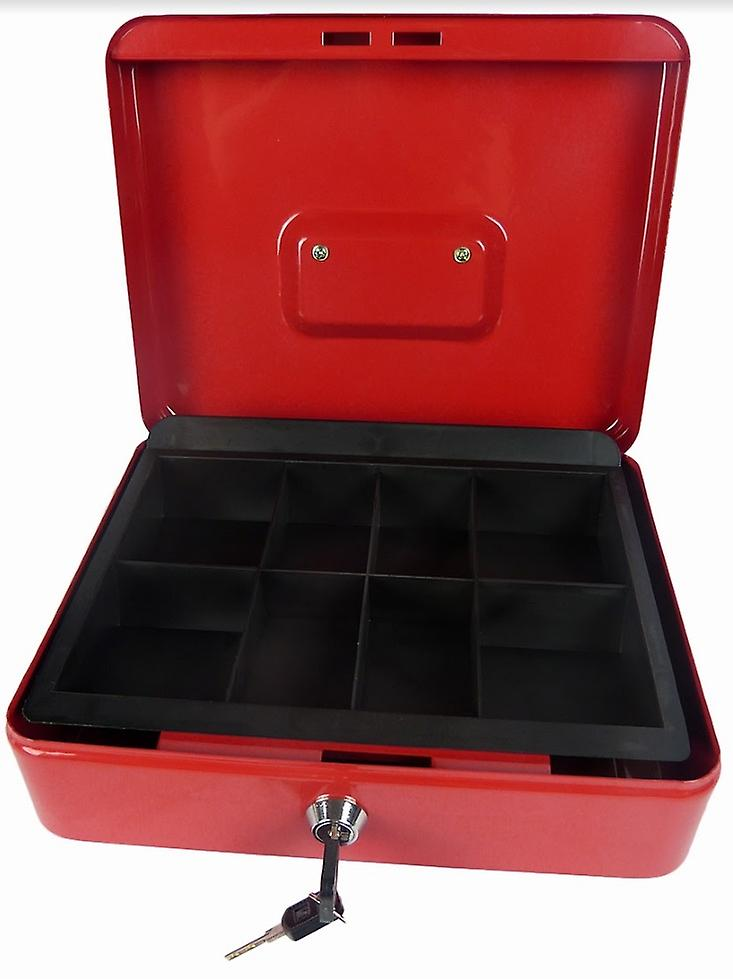 Hyfive® Steel Petty Cash Box With 2 Keys/Removable Change Tray For Perfect Secure Storage in Red 10