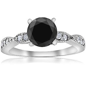 2 1 / 4ct Black & bianco diamante anello di fidanzamento 14k White Gold