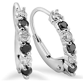 """1/4ct Diamond Hoops 14K White Gold Small 1/2"""" Tall"""