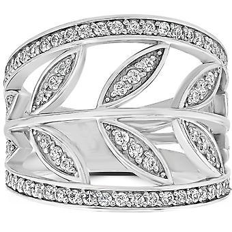 1CT бриллиант цветочные кулака кольцо 14K Белое золото