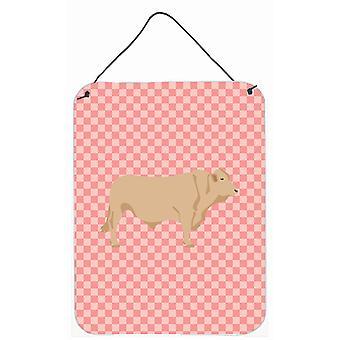 Vache Charolais Check rose mur ou porte suspendue imprime