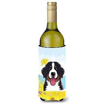 Bernese Mountain Dog Summer Beach Wine Bottle beverage Insulator Hugger