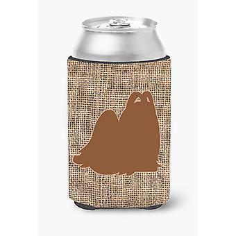 Maltese Burlap and Brown Can or Bottle Beverage Insulator Hugger