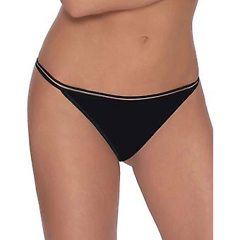 Roza Women's Lea Black Embroidered Panty Thong