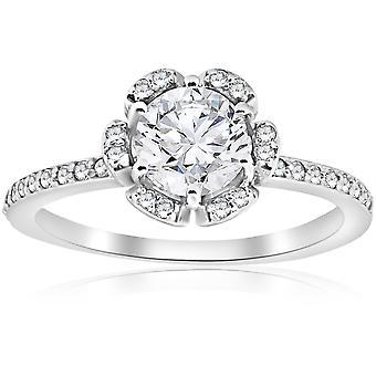 1CT diamant förlovningsring Vintage blommig Halo 14k vitguld Enhanced
