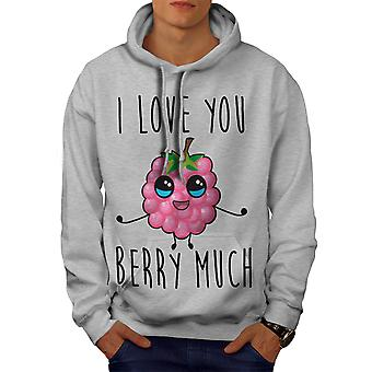 Love Berry Very Much Men GreyHoodie | Wellcoda