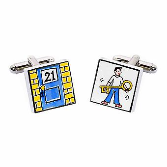 Key to the Door 21 Cufflinks by Sonia Spencer, in Presentation Gift Box. Hand painted